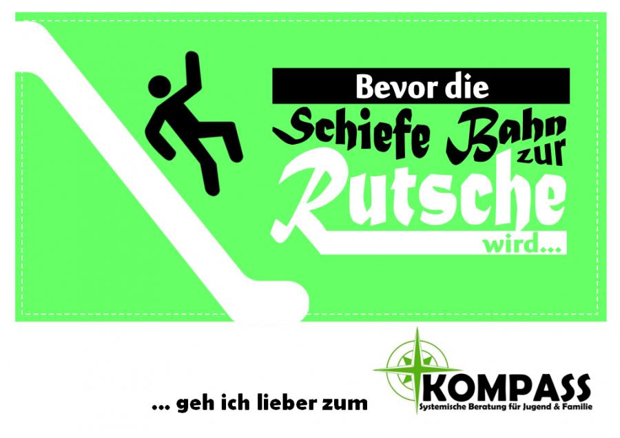 Postkarte - Schiefe Bahn