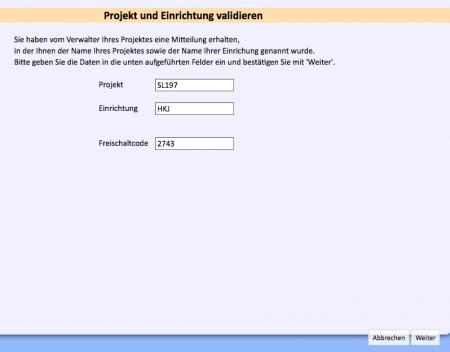 Projekt und Einrichtung validieren