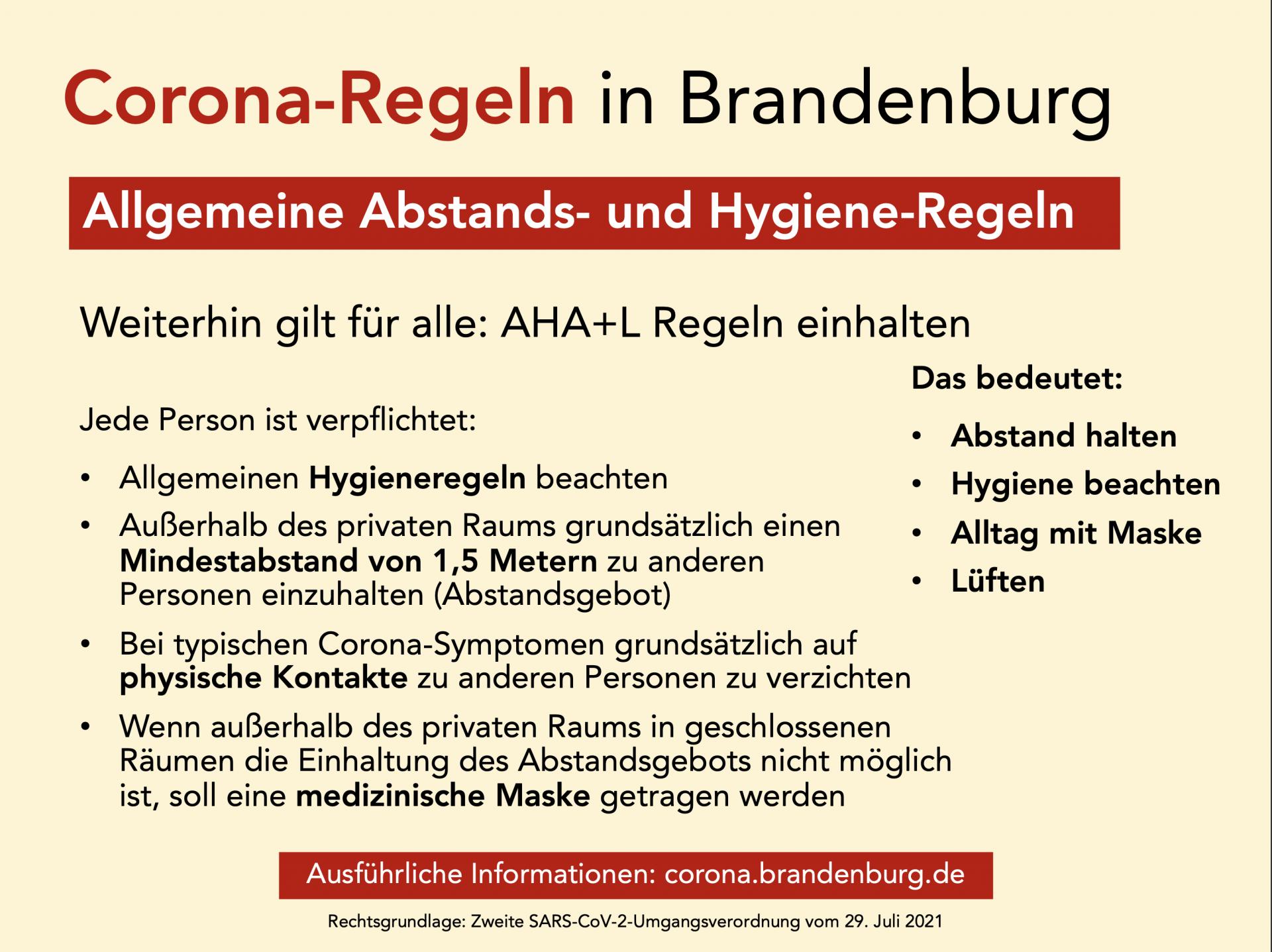 Übersicht: Corona-Regeln in Brandenburg