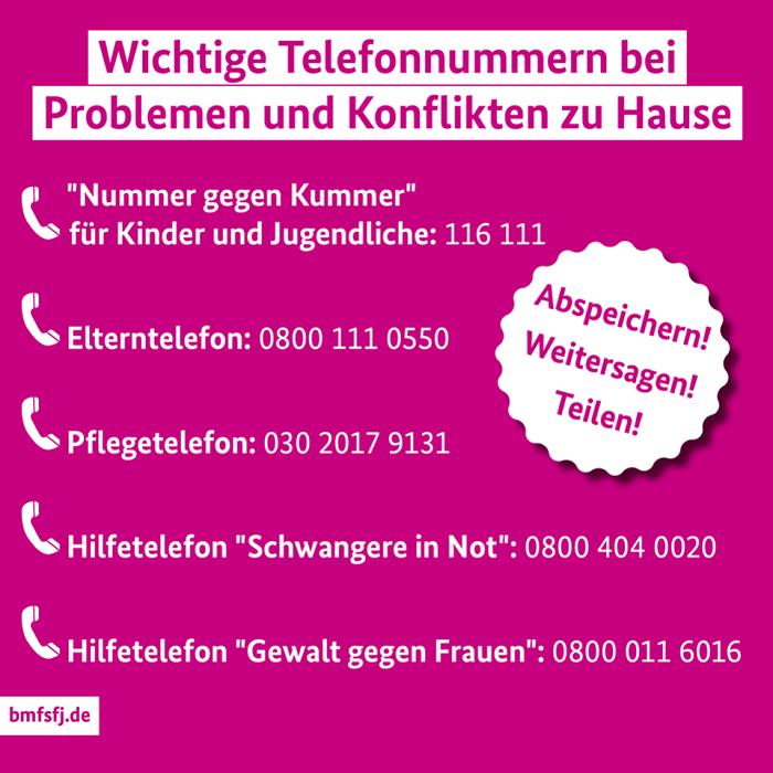 Telefonnummern für zu Hause