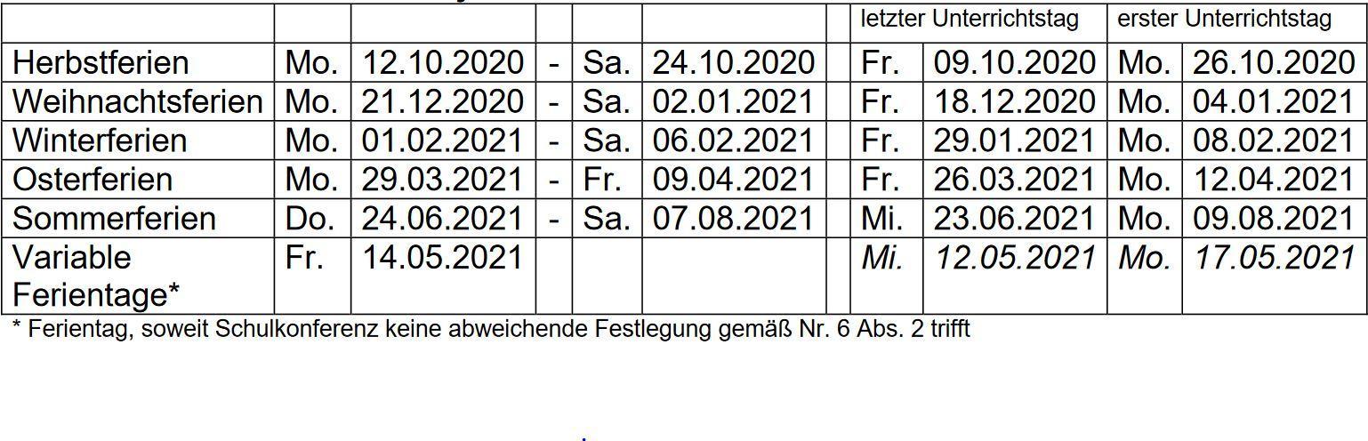 Schulferien 2020/2021