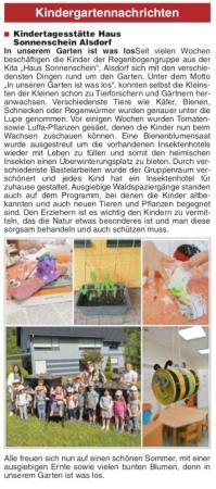 Zeitungsartikel Mitteilungsblatt