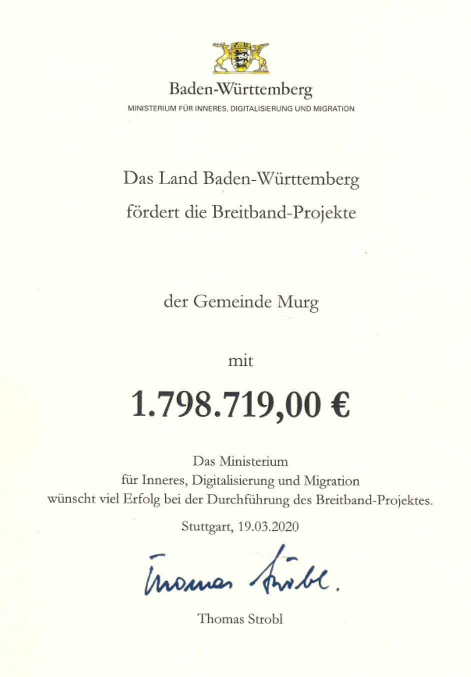 Urkunde Förderbetrag Breitband