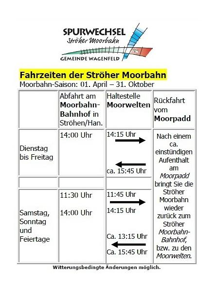 Fahrzeiten Moorbahn