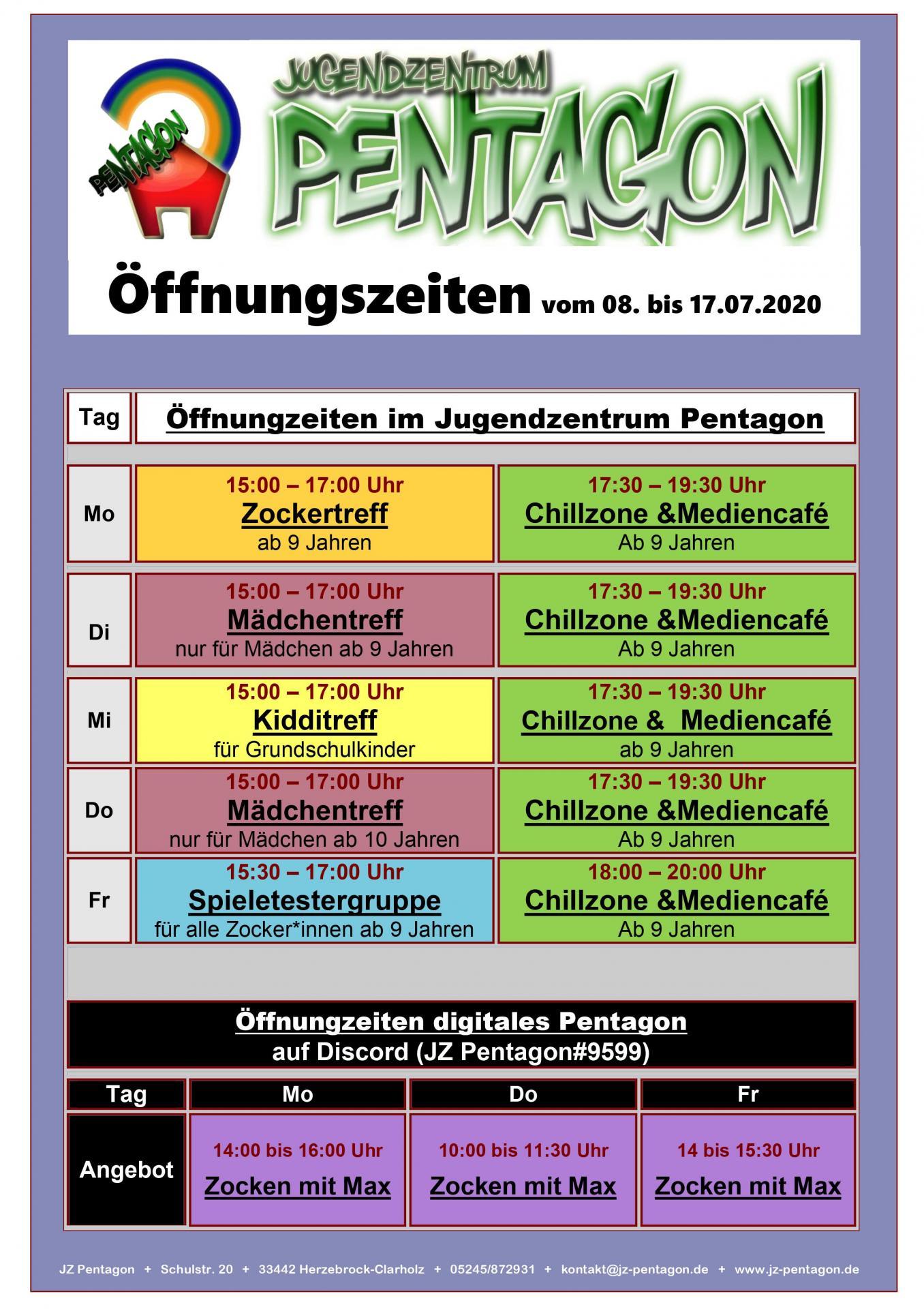Öffnungszeiten vom 08. bis 17.07.20