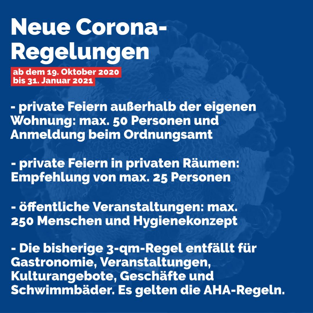 Neue Coronaregeln ab 19.10. - 31.01.2021