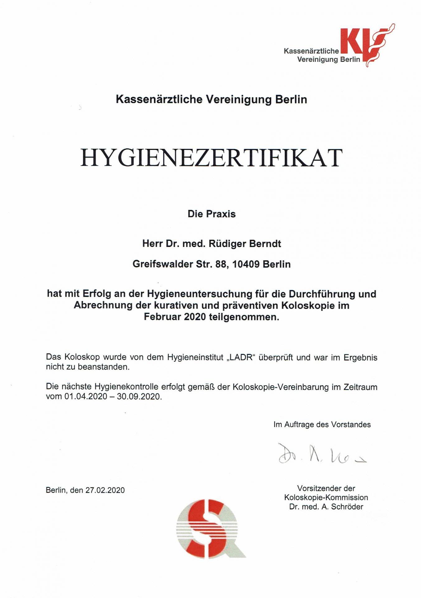 Hygiene-Zertifikat 03/20 - 10/20