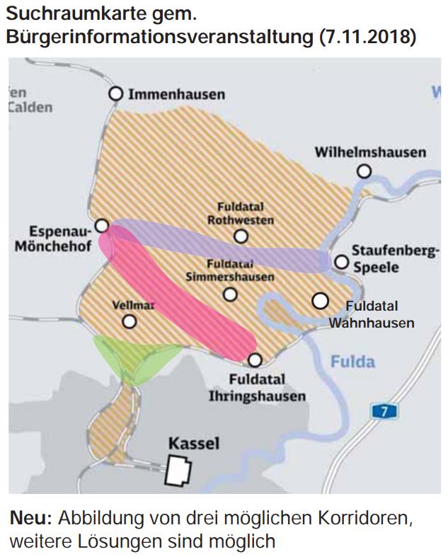 Runder Tisch 25.02. Auszug aus DB Präsentation S.18 Mögliche Korridore im Suchraum für die Kurve Kassel