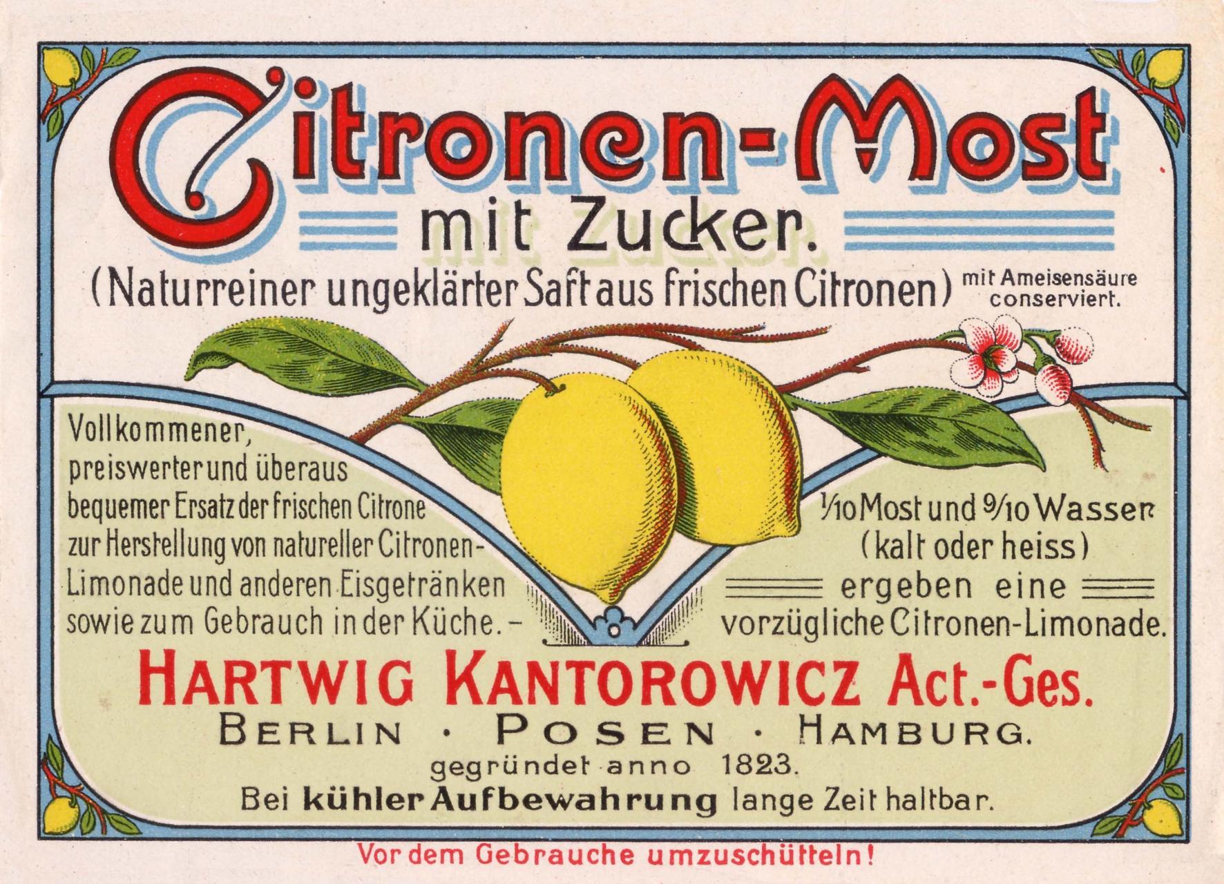 Etikett Citronenmost, © Stephan Becker, Brüssow