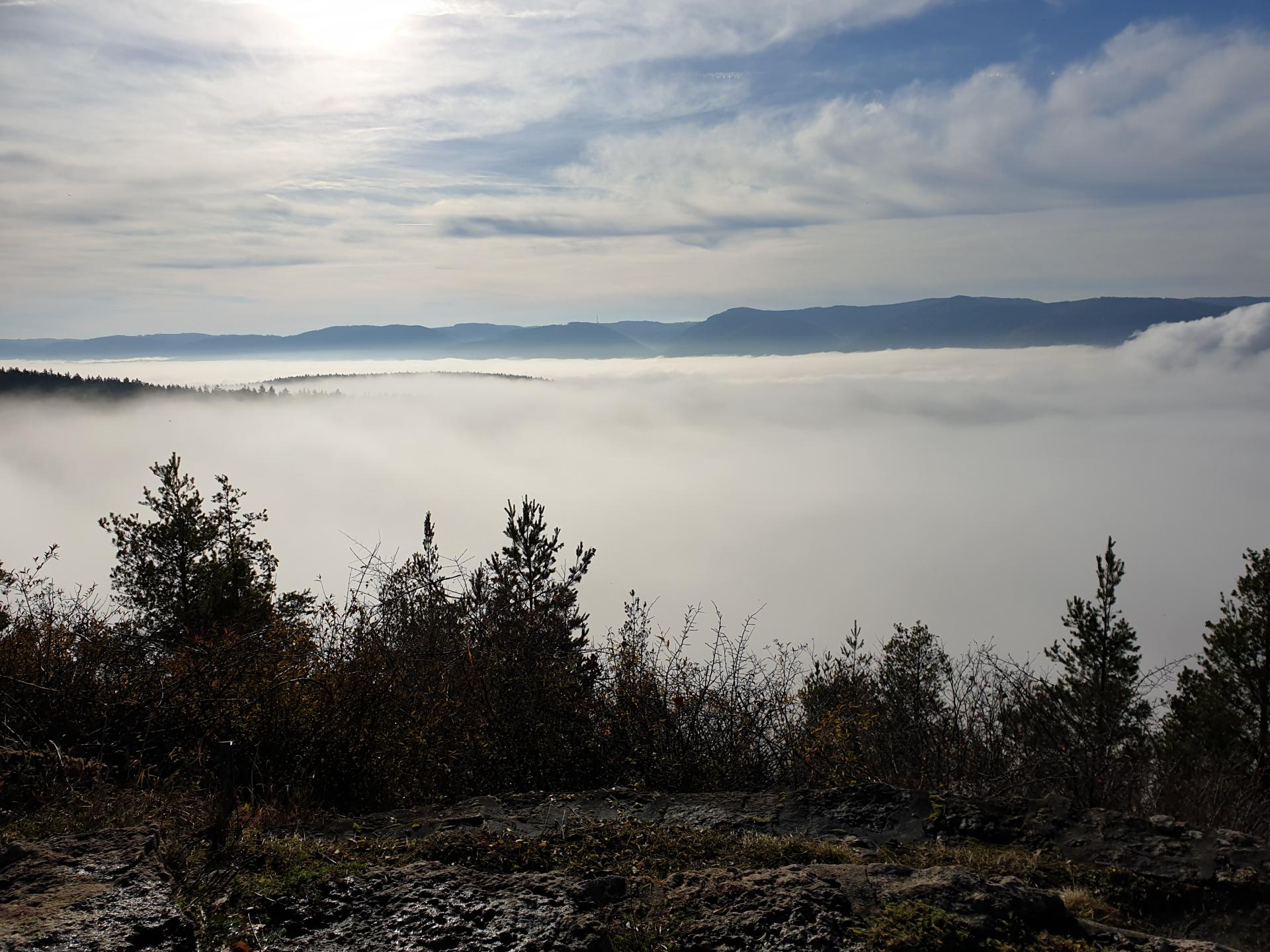 Thüringen Gipfel über Talnebel