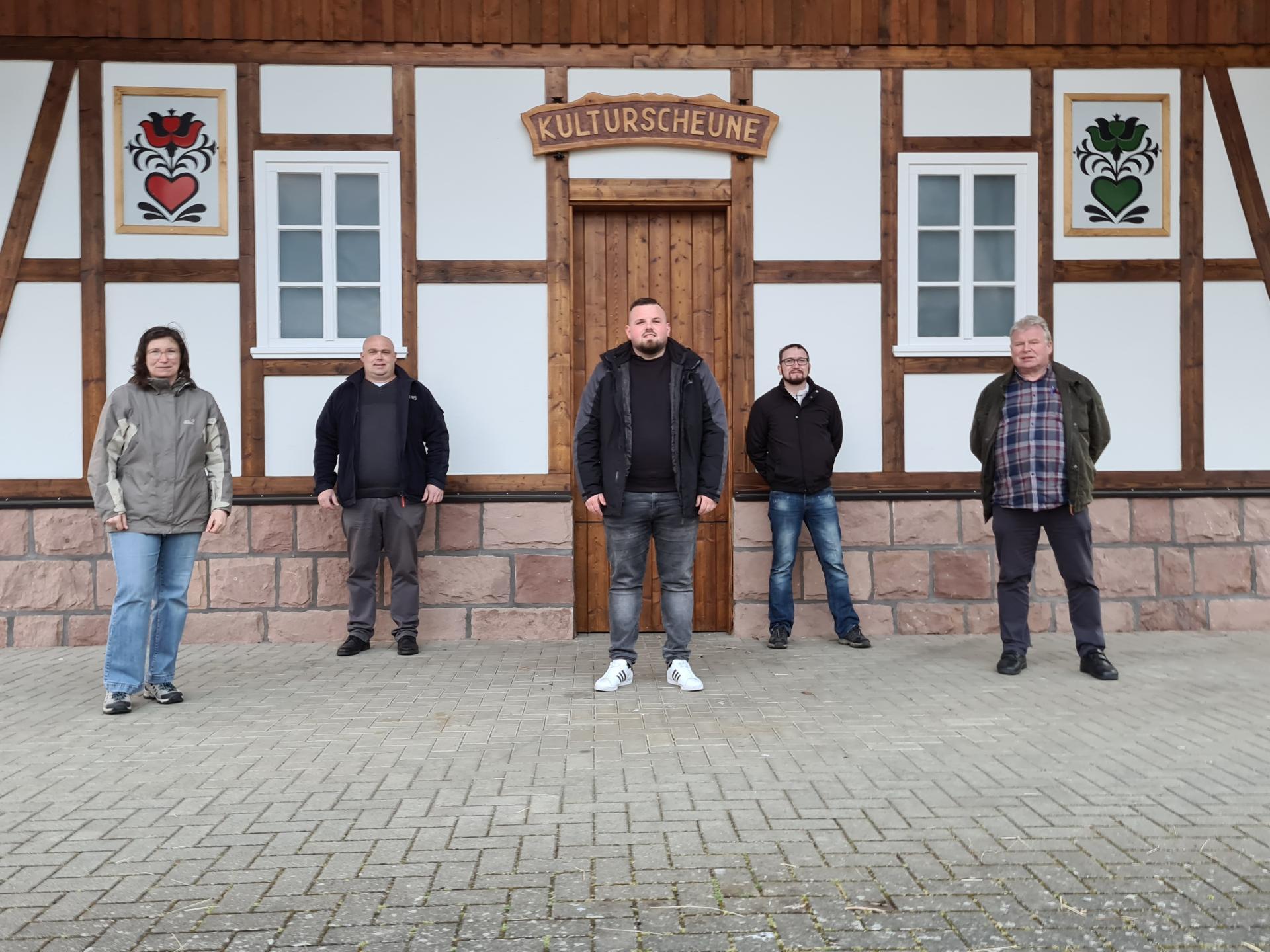 v.l.: Nicole Diehl, Karol Steinacker, Ortsvorsteher Tobias Mattern, Matthias Worm, Bernd Reiner