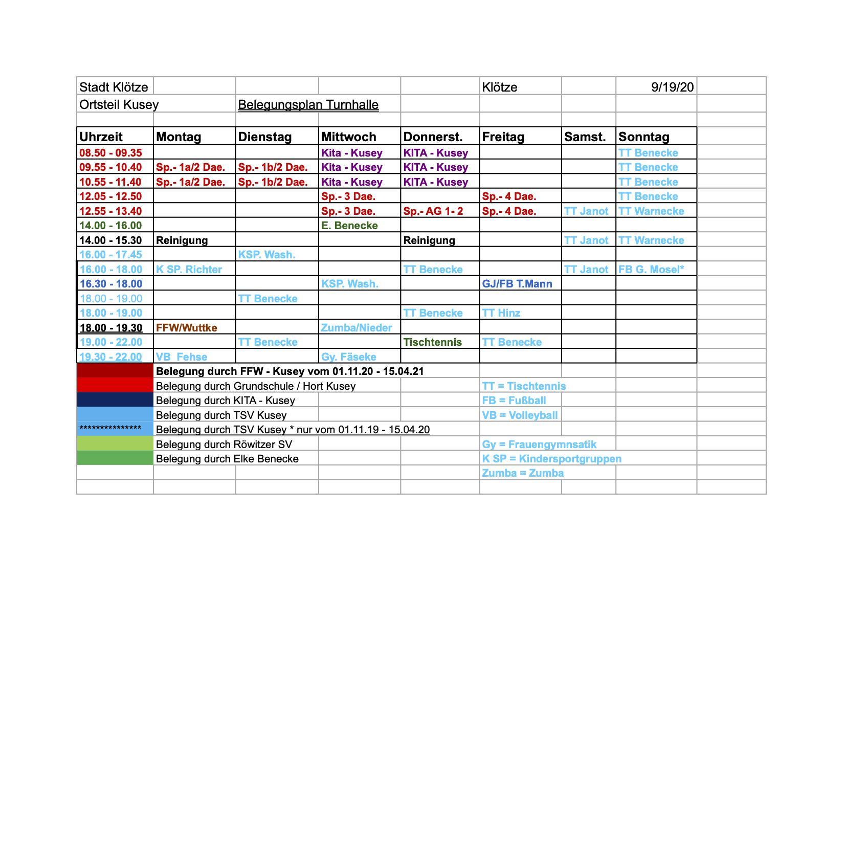 Belegungsplan Sporthalle 2020