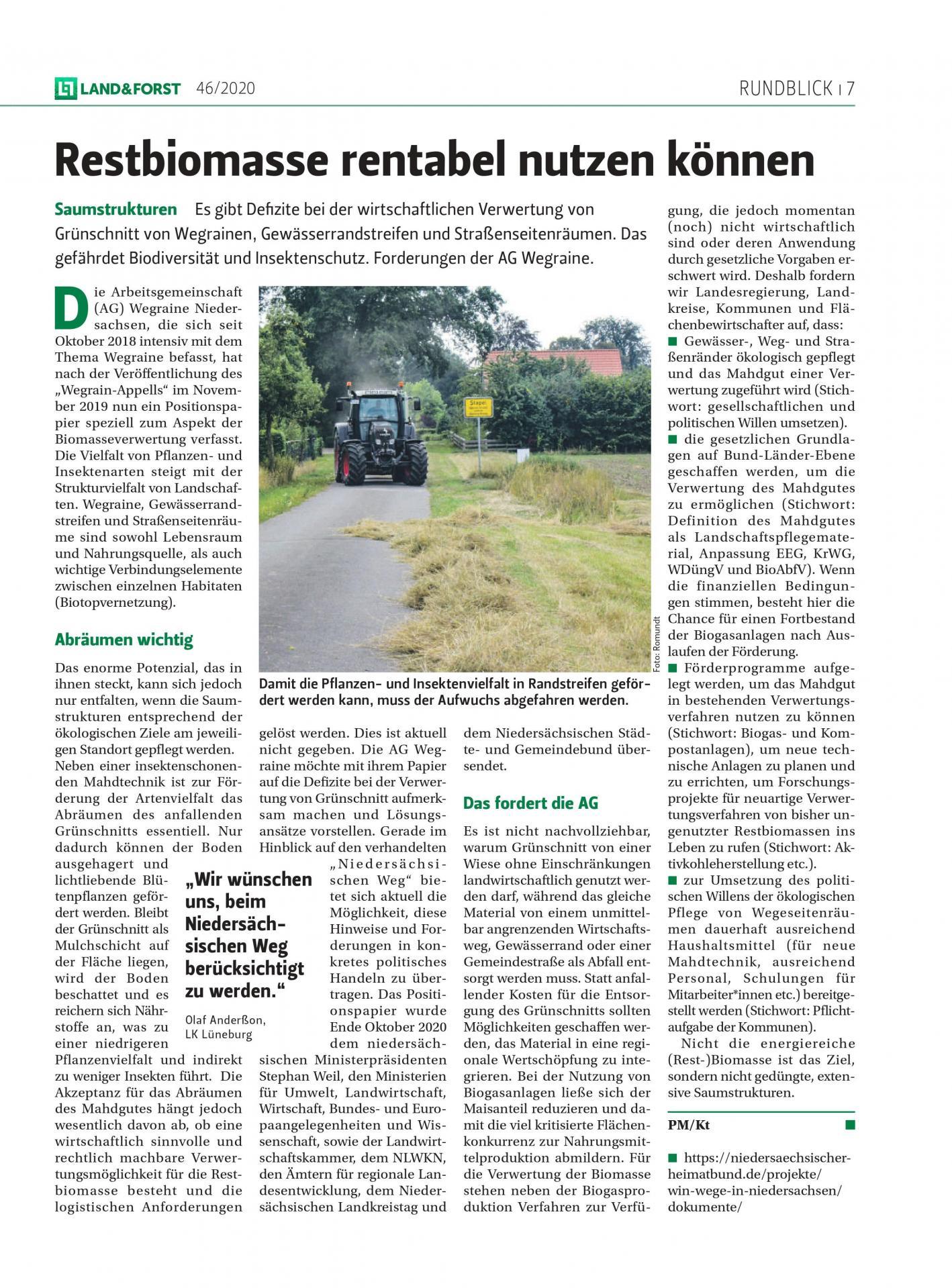 Artikel Land & Forst Positionspapier Ausgabe 46/2020