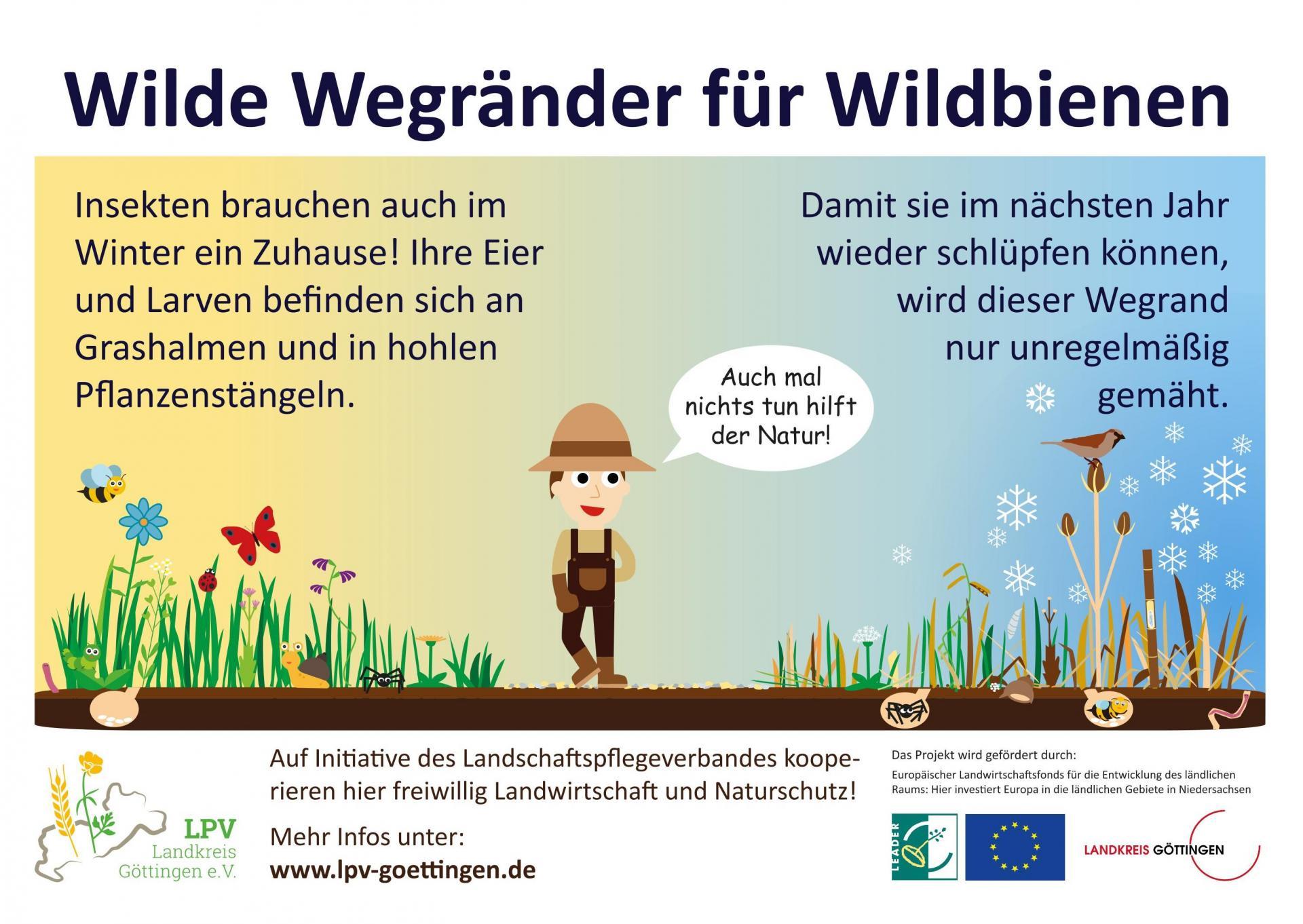 Schild Wilde Wegränder für Wildbienen