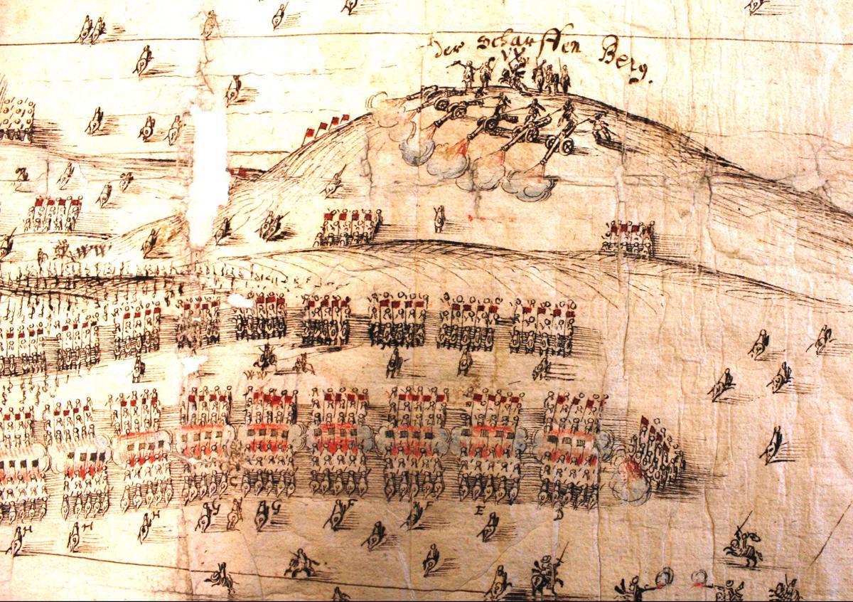 Detail einer schwedischen Darstellung der Schlacht bei Wittstock 1636 - Kriegsarchiv Stockholm