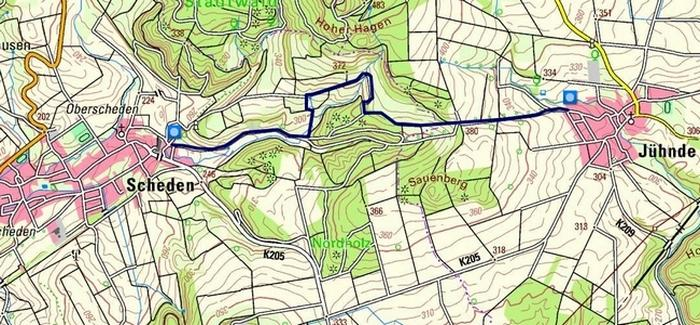 Karte Quellpfad