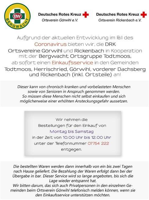 Einkaufsservice DRK OV Rickenbach