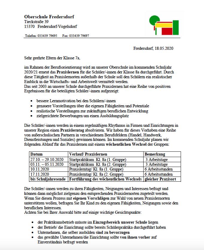 1. Elternbrief Praxislernen Klasse 7a - 1. Seite