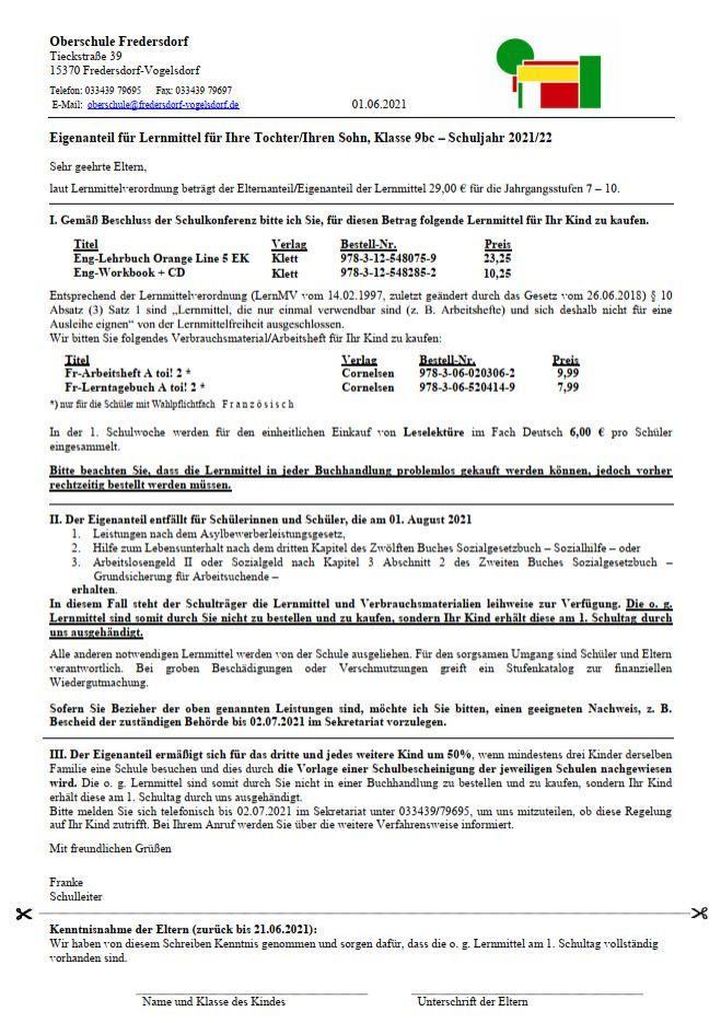 Elternanteil 9bc 2021/22