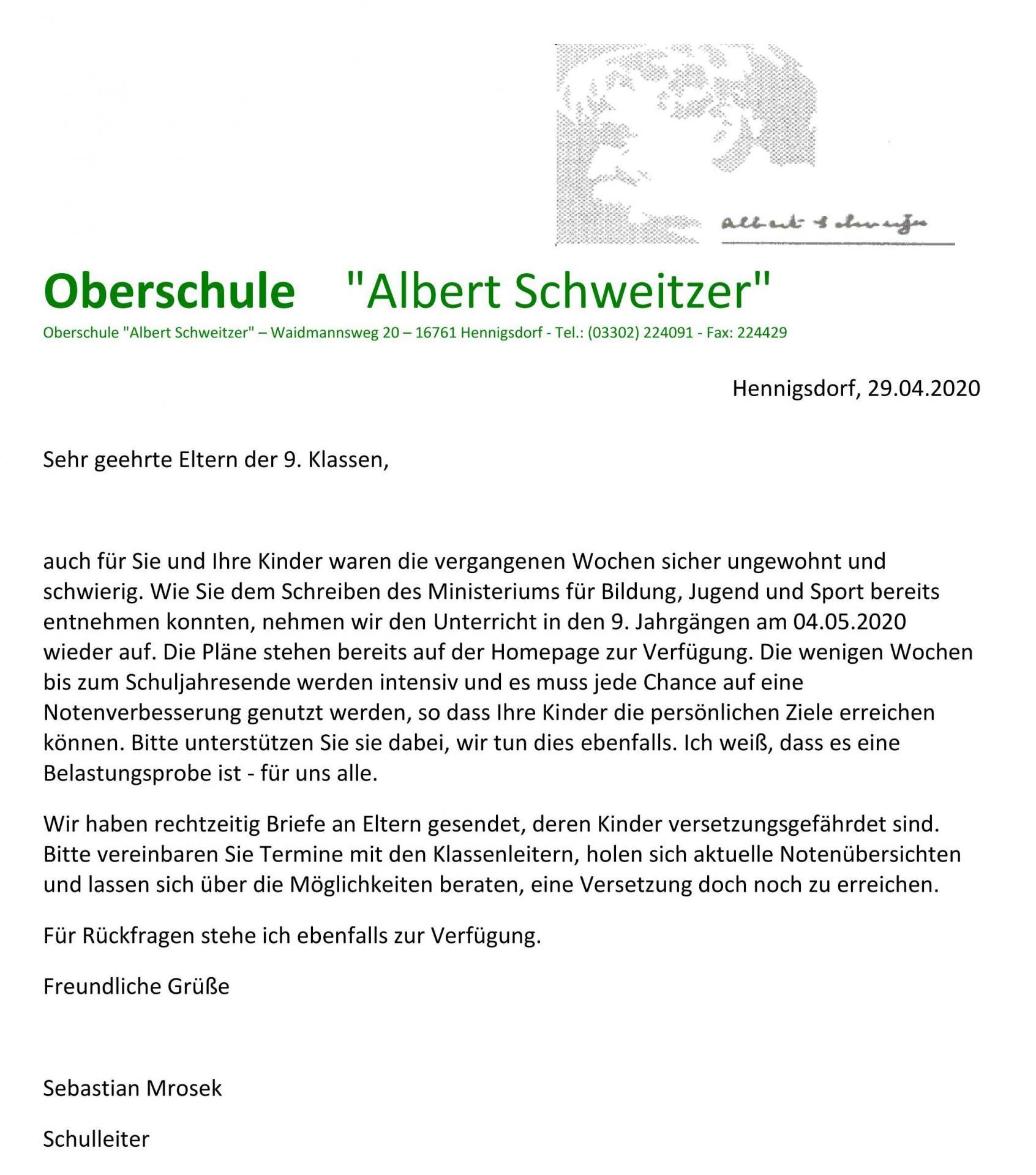 Info Schulstart Kl. 9