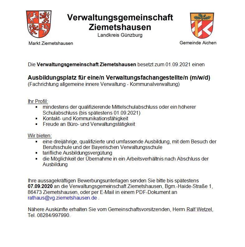 Stellenausschreibung VG Ziemetshausen Azubi 2021