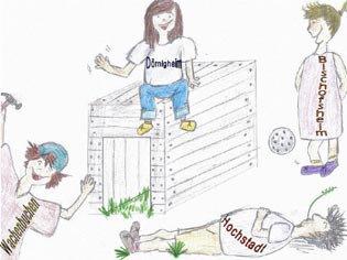 Bild zeigt vier gezeichnete Kinder beim spielen; auf jedem T-Shirt steht ein Stadtteilname von Maintal