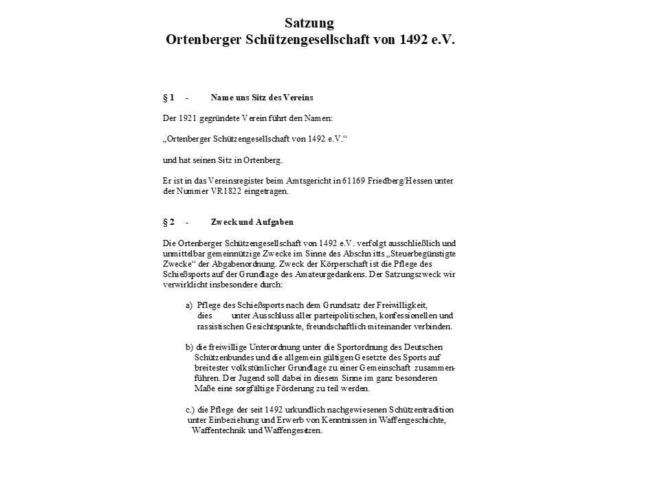 Deckblatt Satzung Schützengesellschaft