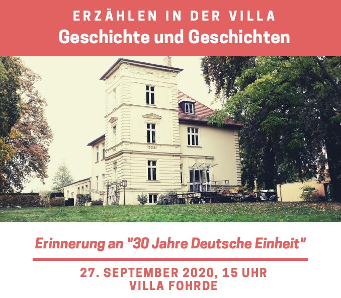 """Erzählcafé """"30 Jahre Deutsche Einheit"""""""