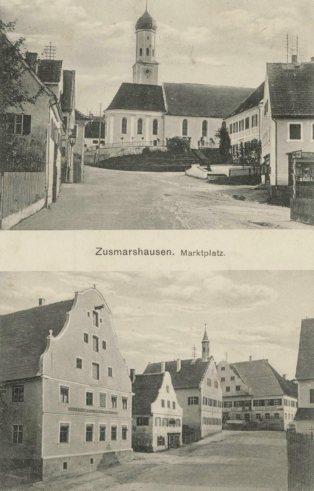 Zusmarshausen Marktplatz mit Kirche und Rathaus