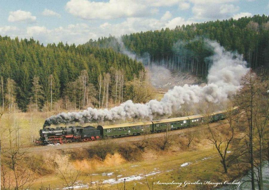 Güterzugdampflokomotive 58 111 mit Sonderzug  zwischen Dittersdorf und Kemtau