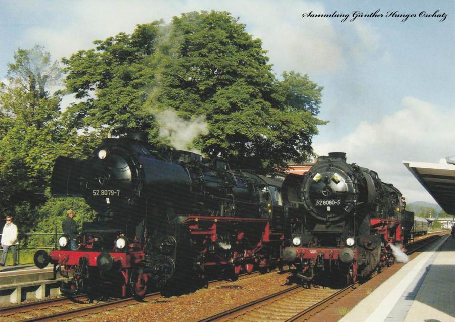 Rekogüterzugdampflokomotive 52 8079 und 52 8080