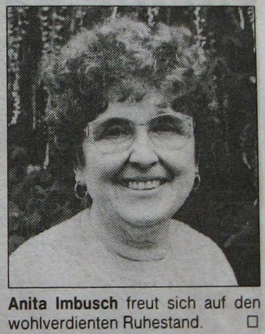 Unsere langjährige Sekretärin Frau Imbusch