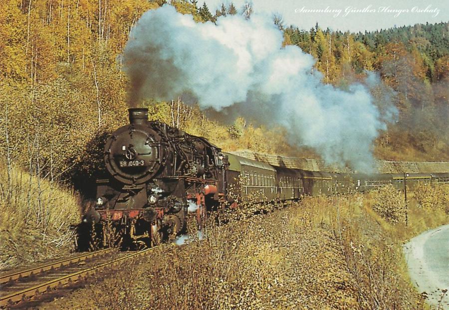 Güterzugdampflokomotive 58 1040  mit Personenzug 3603 Zwickau – Johanngeorgenstadt bei Antonsthal