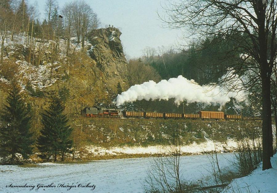 Güterzugdampflokomotive 58 311  durchfährt den Bahnhof Zöblitz/Pobershau