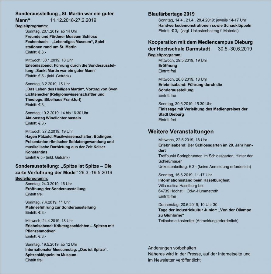 Halbjahresprogramm 1/2019