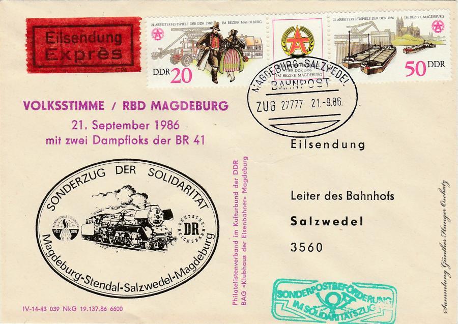 Volksstimme/RBD Magdeburg 21.September 1986  mit zwei Dampfloks der BR 41  Sonderzug der Solidarität Magdeburg-Stendal-Salzwedel-Magdeburg