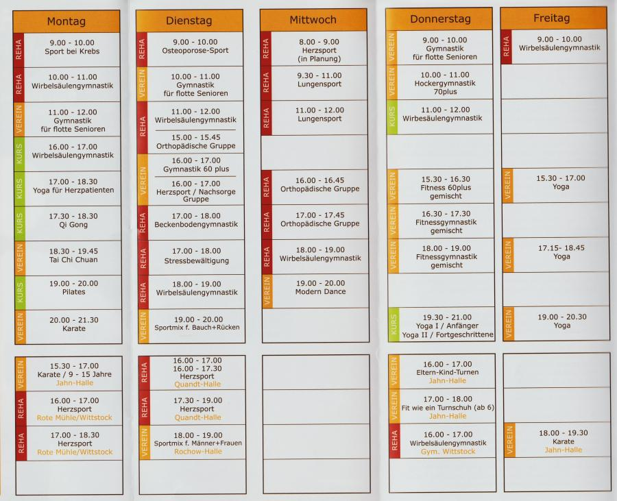 Wochenplan 2017