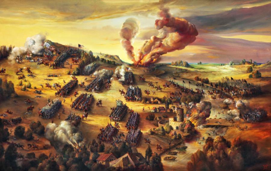 Schlacht bei Mühlberg, Gemälde von Christoph Wetzel, 1990