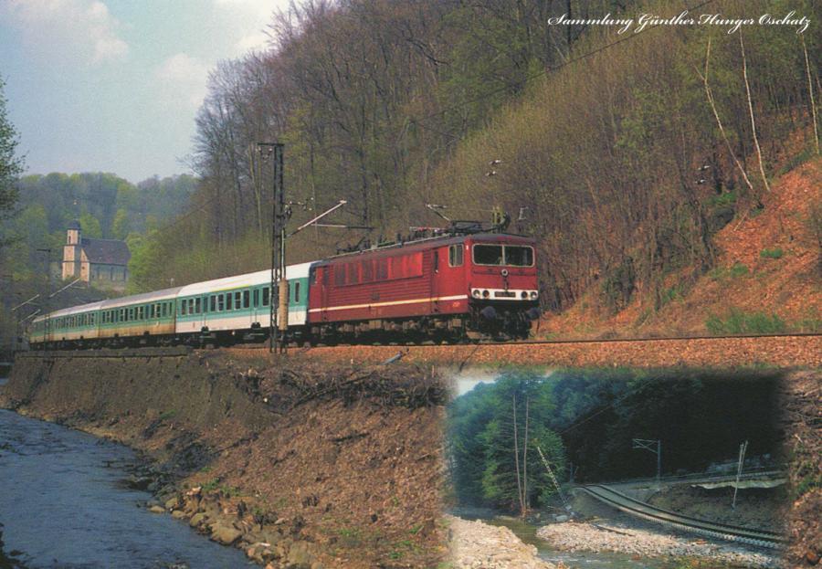Elektrolok der BR 155  mit Reisezug bei Tharandt