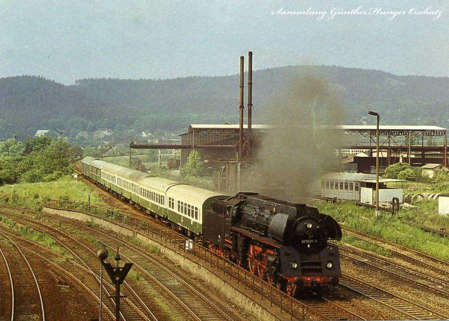 Lok 01 1531 mit P 8017 in Saalfeld 1984