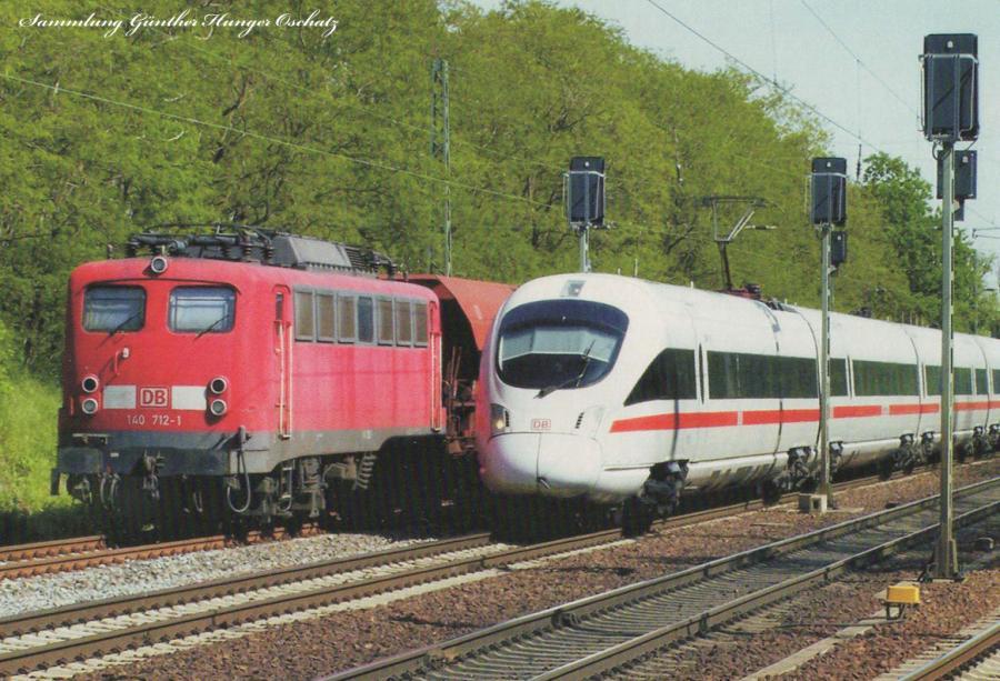 Elektrolokomotive 140 712 und ICE 3 (BR 407)  bei Priestewitz