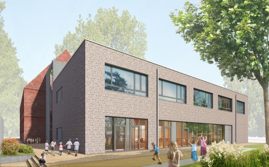 Noch in Planung, bald Realität: So wird der neue Anbau in der Grundschule Sachsenhausen aussehen. Fotonachweis: © ARGE GS Sachsenhausen Kummer. Lubk. Partner | thoma architekten