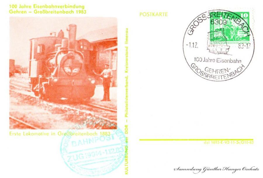 100 Jahre Eisenbahnverbindung  Gehren-Großbreitenbach 1983