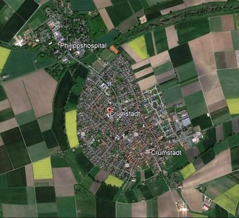 Sattelitenbild Crumstadt  Quelle: Google Earth