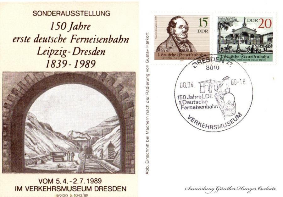 150 Jahre  erste deutsche FerneisenbahnLeipzig-Dresden1839-1989