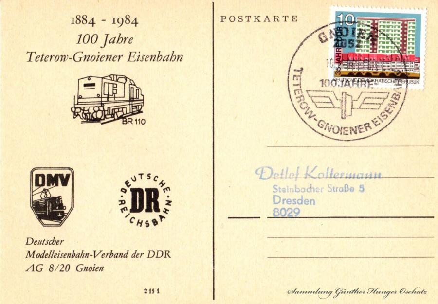 1884-1984  100 Jahre  Teterow-Gnoiener Eisenbahn