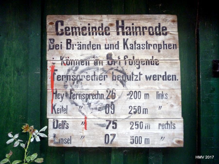 Schild Tel nummern früher