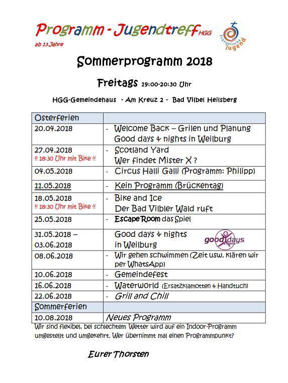 Jugendtreff Sommer 2018