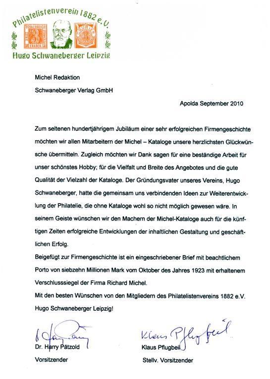 100 Jahre Michelkatalog Brief
