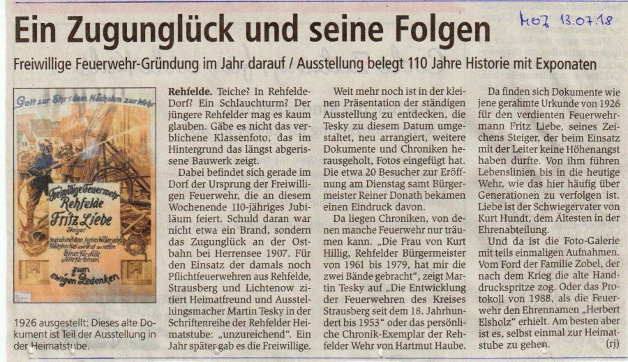Sonderausstellung 110 Jahre Feuerwehr in Rehfelde (1)